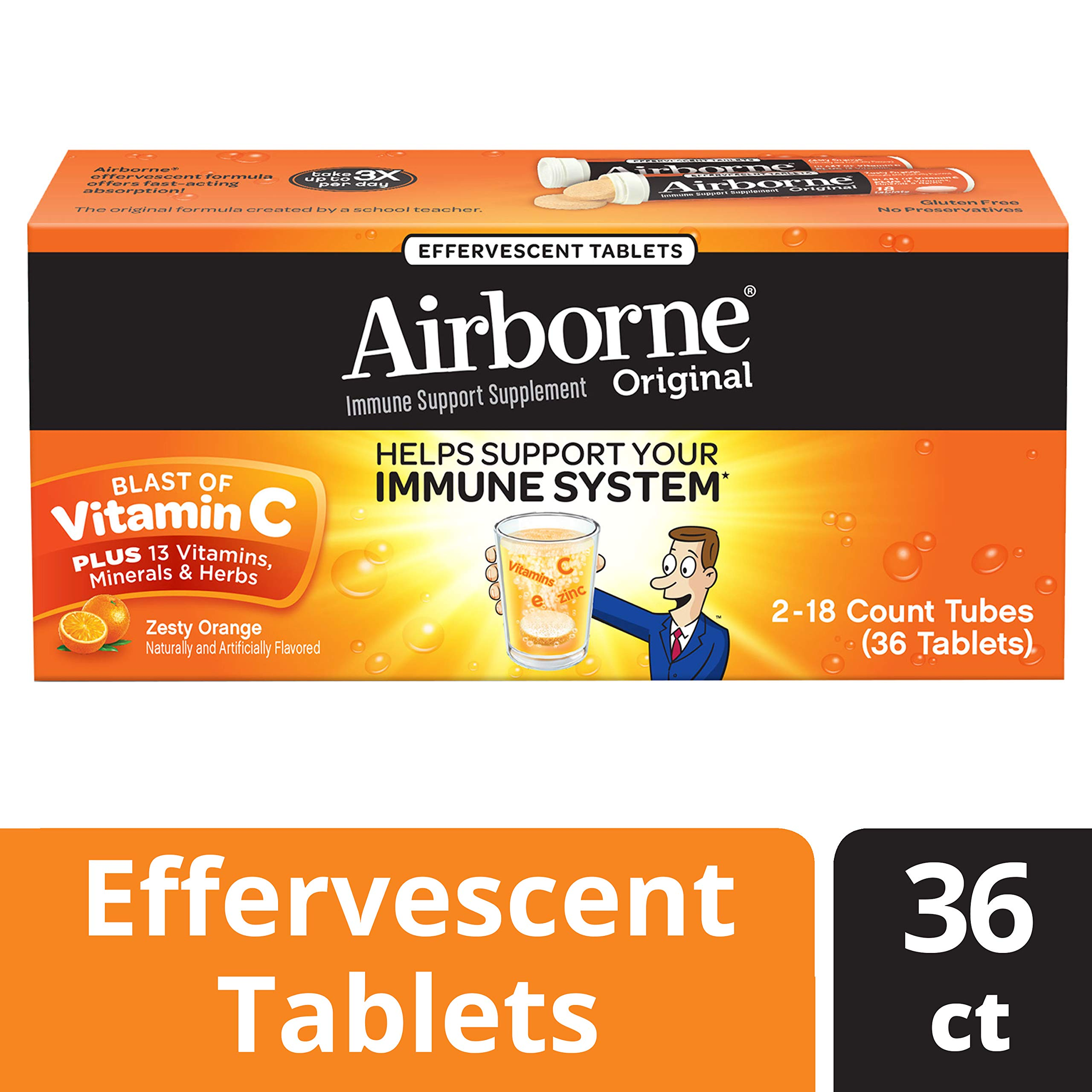Vitamin C 1000mg - Airborne Zesty Orange Effervescent Tablets, 36 count - Immune Support Supplement