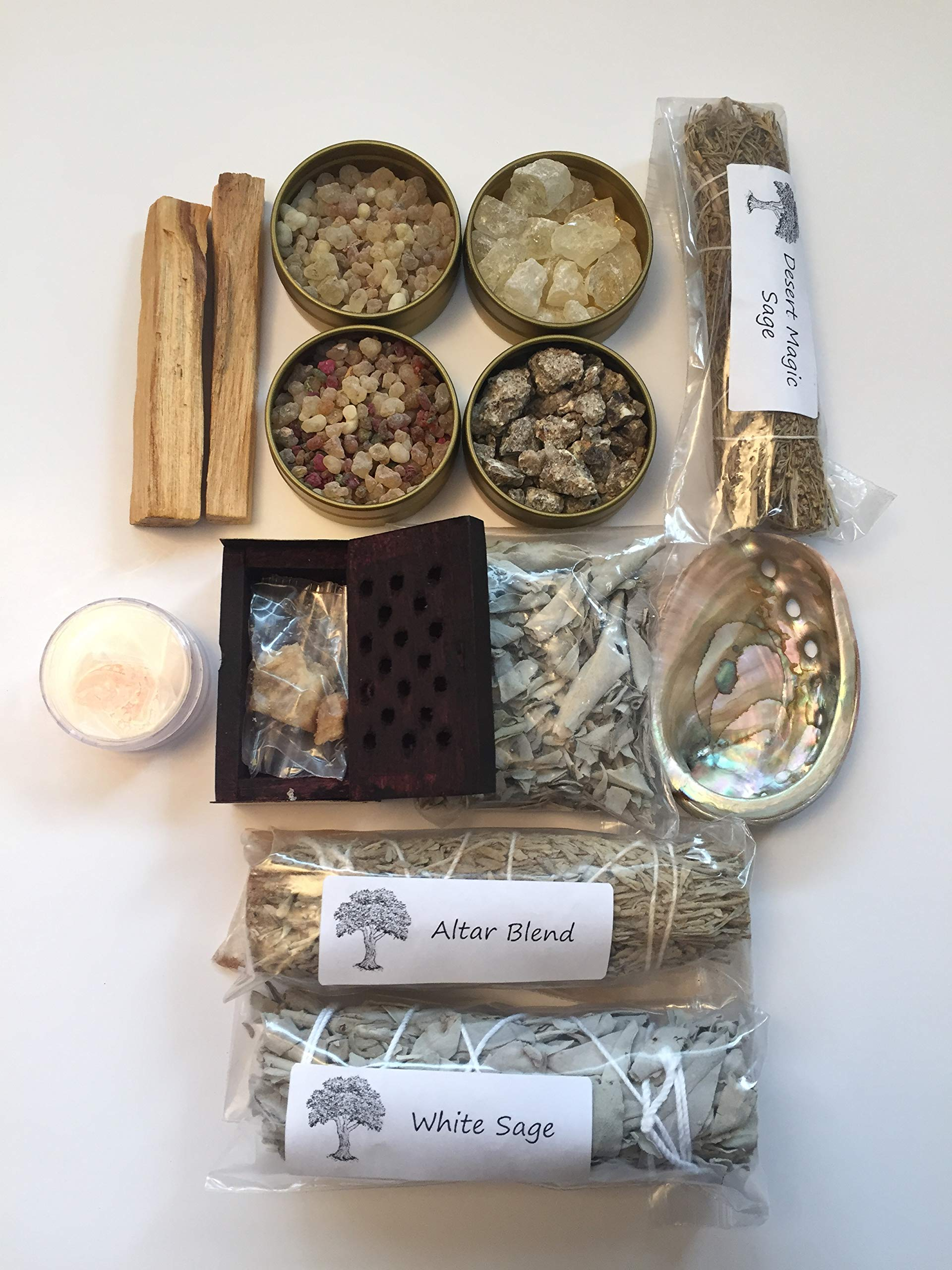 Resin Incense and Sage Smudges Variety Gift Kit includes, Amber Resin, Rose Resin, White Copal, Mystical Benzoin, Frankincense, White Sage Smudge, Desert Sage, Palo Santo Sticks and Abalone Shell by Sacred Scents For You (Image #4)