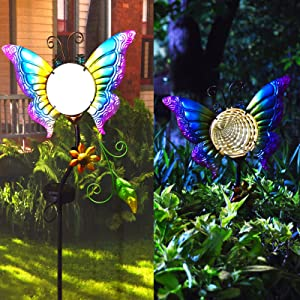 Solar Lights Outdoor Garden Butterfly Lights Decorative Solar Powered Stake Light with Waterproof Yard Tunnel Lighting Decor for Outside Patio Lawn Pathway Landscape Pool Pond