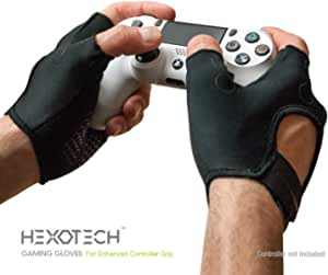 Foamy Lizard Gaming Grip Gloves Hexotech Pro Gamer Anti-Sweat Fingerless Tactical Gloves for Controller Grip Perfect for Xbox Series X, Playstation 5 Dualsense (Set of 2 Gloves)