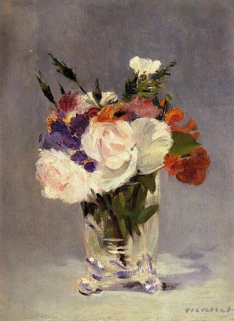 Manet Edouard Flowers in a Crystal Vase 2 100% Hand Painted Replica Oil Paintings 12X16 Inch