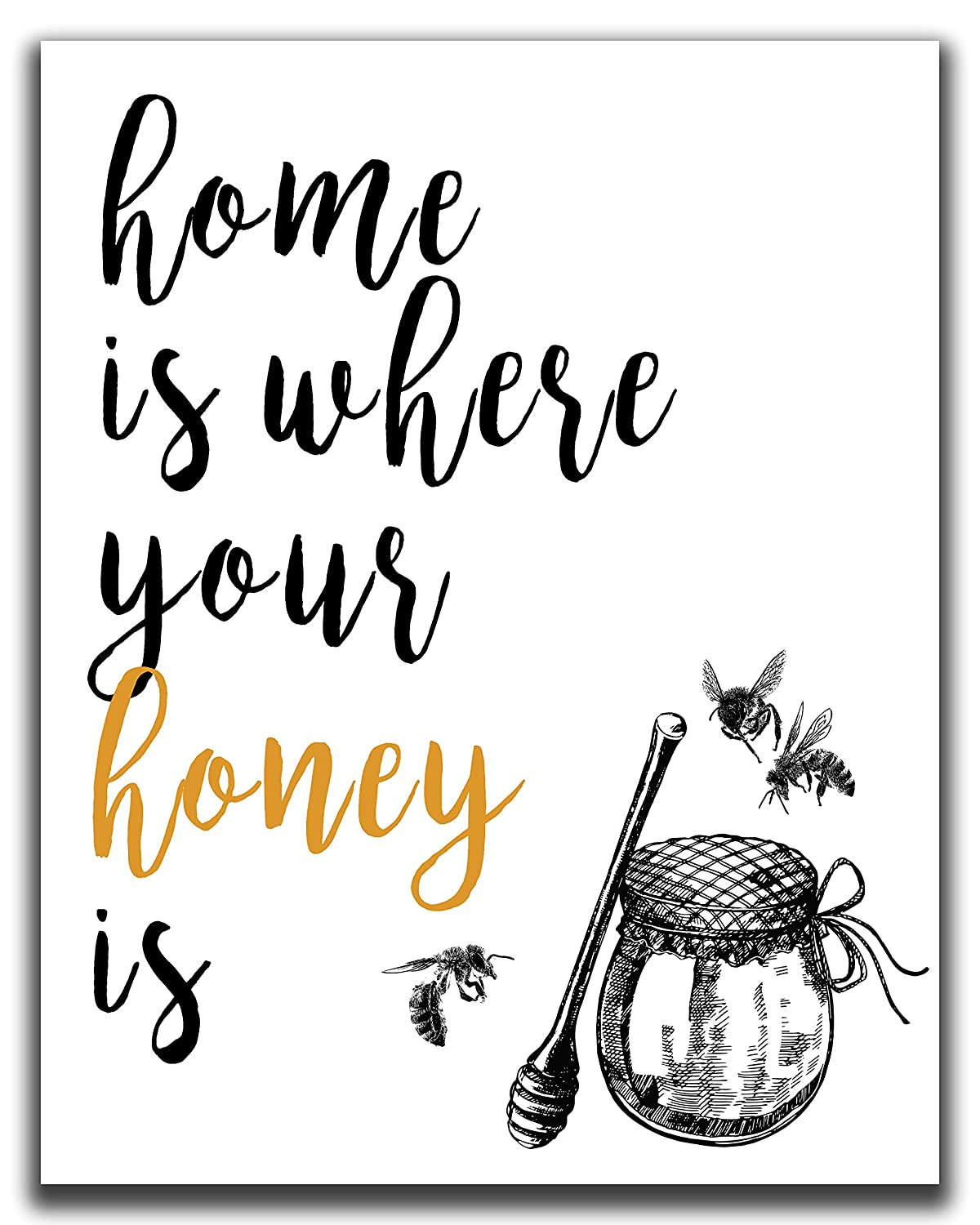 "Home Wall Decor - 11x14"" UNFRAMED Print - Bee Art Decor -""Home Is Where Your Honey Is"" - Rustic, Farmhouse, Black & White Bee Wall Art - Bee Gifts"