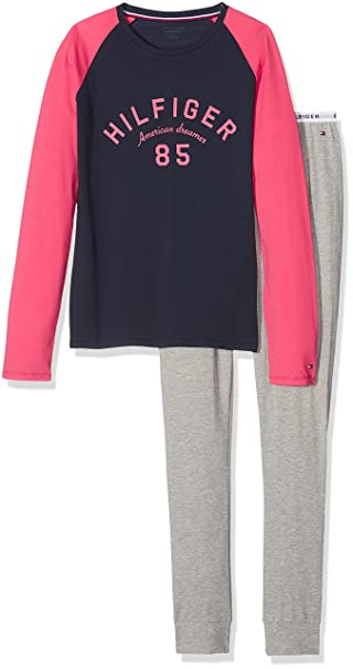 Tommy Hilfiger Set LS Logo, Pijama para Niñas, (Navy Blazer/Grey Heather