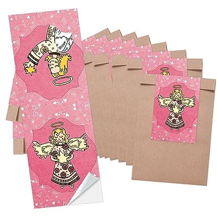 10 pequeñas bolsas marrones bolsas de papel weihnac htstüten (8,5 x 13 cm