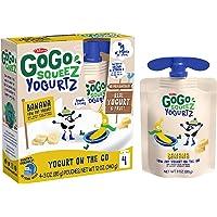 GoGo squeeZ YogurtZ, Banana, 3 Ounce (4 Pouches), Low Fat Yogurt, Gluten Free, Pantry-friendly, Recloseable, BPA Free Pouches (Packaging May Vary)