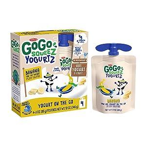 GoGo squeeZ YogurtZ, Banana, 3 Ounce (4 Pouches), Low Fat Yogurt, Gluten Free, Healthy Snacks, Recloseable, BPA Free Pouches