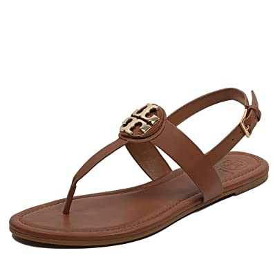 e6afd48a77b Tory Burch Women s 43066 Bryce Leather Flat Thong Sandals Royal Tan (US ...