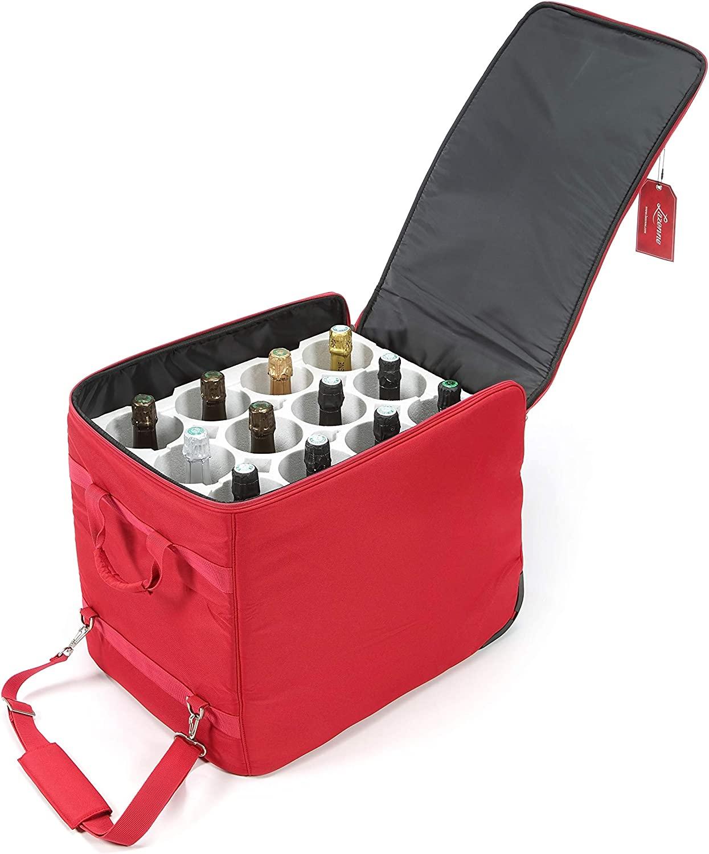 LAZENNE Maleta de Viaje para Vino - Bolsa térmica combinada con una Maleta Ligera de Carcasa Dura - Transporte de Botellas de Vino Conforme a la TSA Bolsa de Picnic y Almuerzo (Rojo)