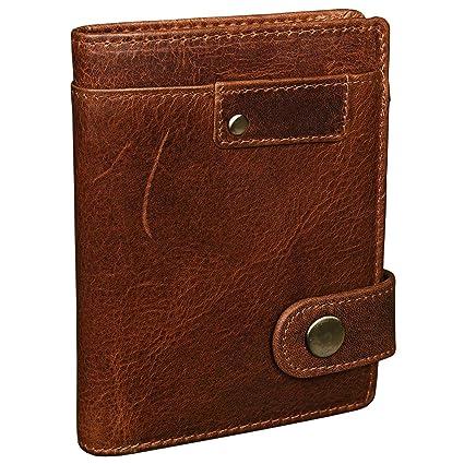 STILORD 'Milo' Vintage Porte-Monnaie homme / Portefeuille classique avec bouton-pression / avec poche à monnaie / 9 x ec-cartes / vertical en cuir veritable, Couleur:marron moyen