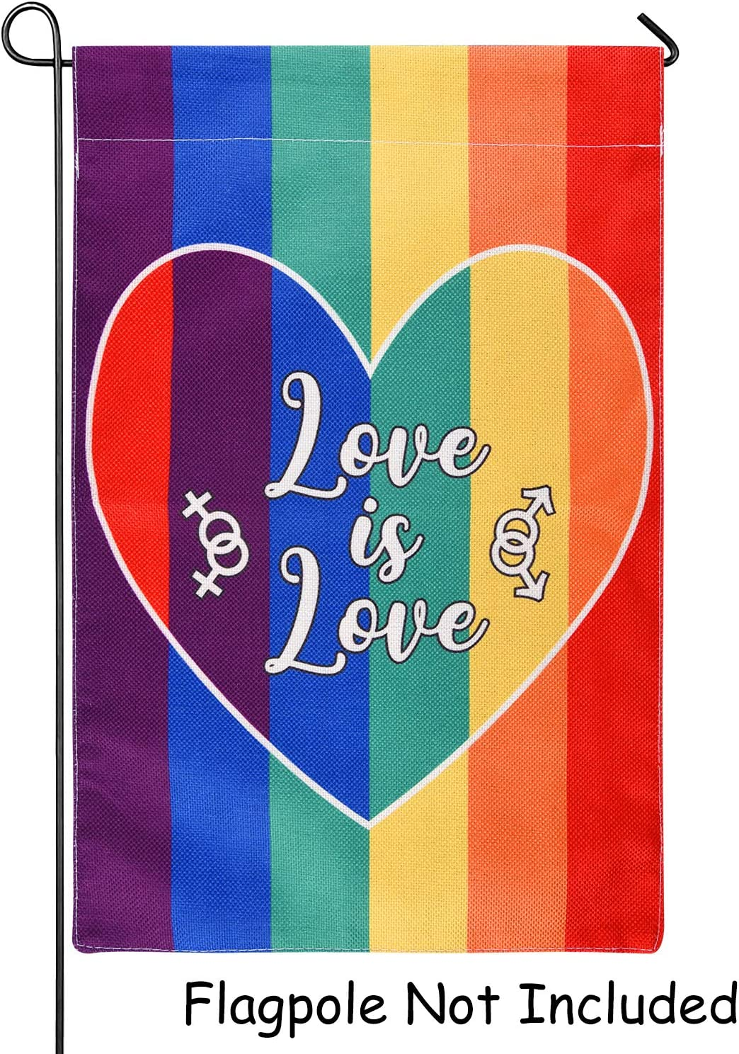 FEPITO Pride Garden Flag Love is Love Rainbow Garden Flag, Double Sided Burlap Garden Flag for LGBT Gay Pride House Yard Outdoor Decoration 12 Inch x18 Inch