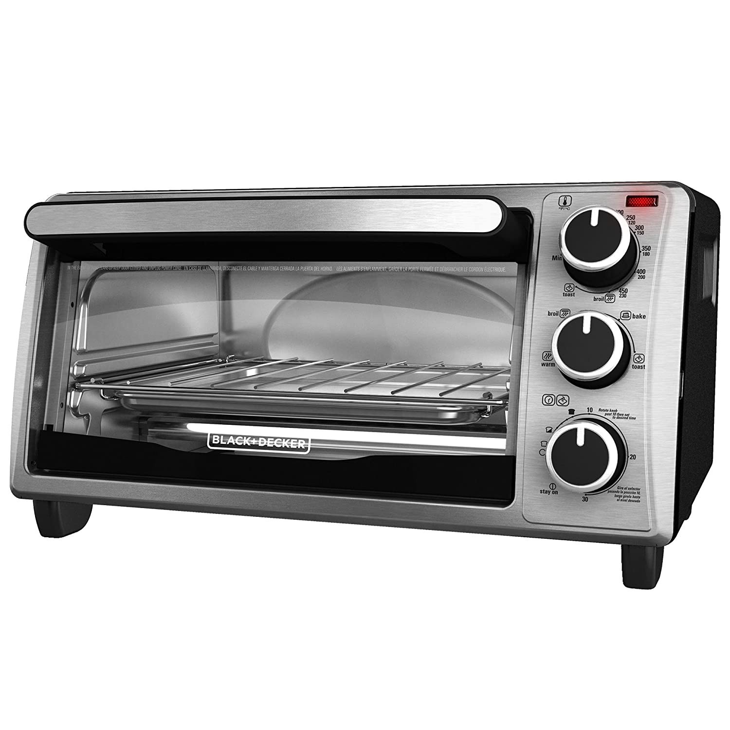 BLACK+DECKER TO1303SB 4-Slice Toaster Oven, Stainless Steel