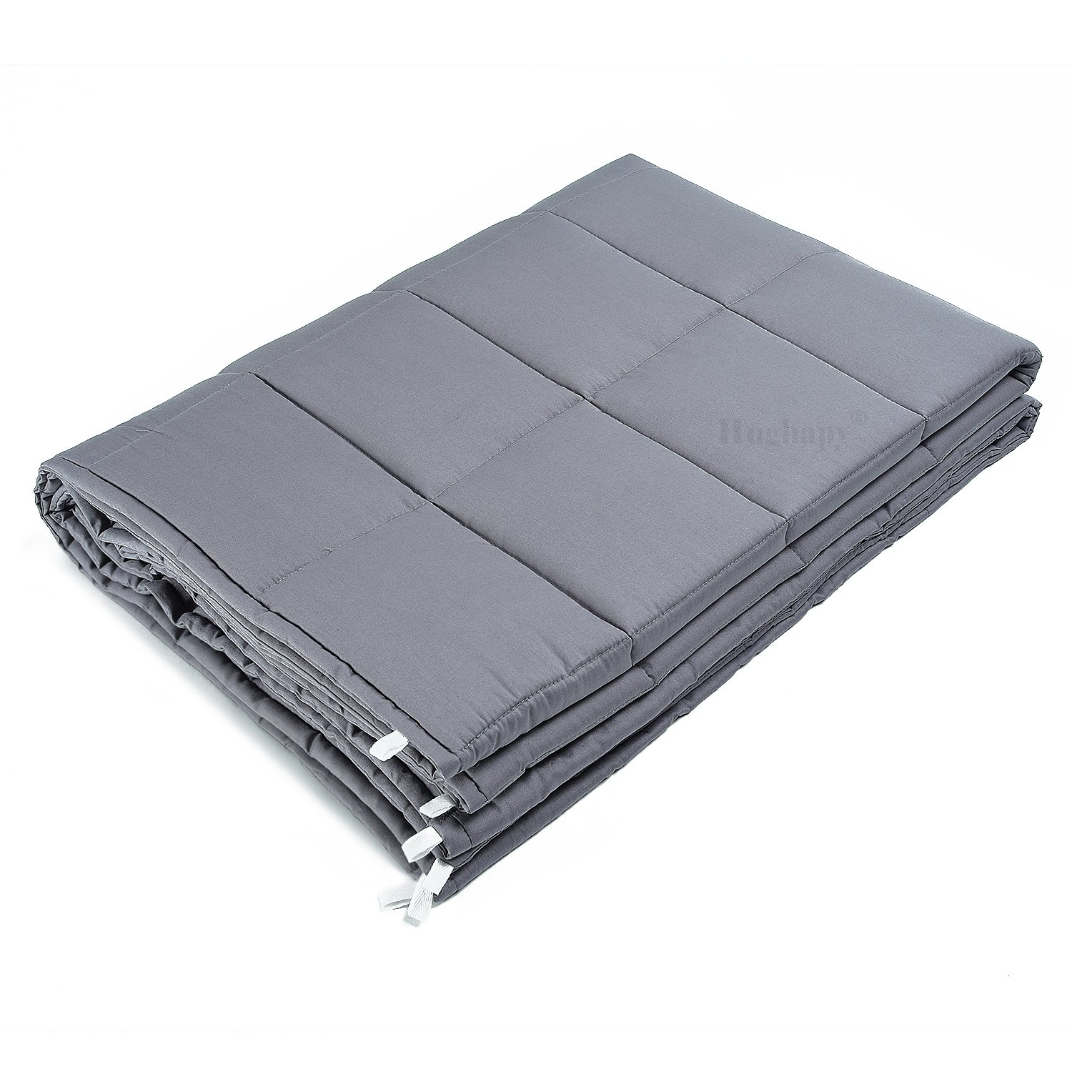 Weighted Blanket by Hughapy for Adults, Fall Asleep Faster and Sleep Better, Great for Anxiety, ADHD, Autism, OCD, and Sensory Processing Disorder (Grey, 48''x72'',15 lbs for 140 lbs individual)
