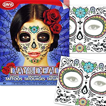 Amazoncom Day Of The Dead Temporary Tattoos Costume Kit Set Of 2