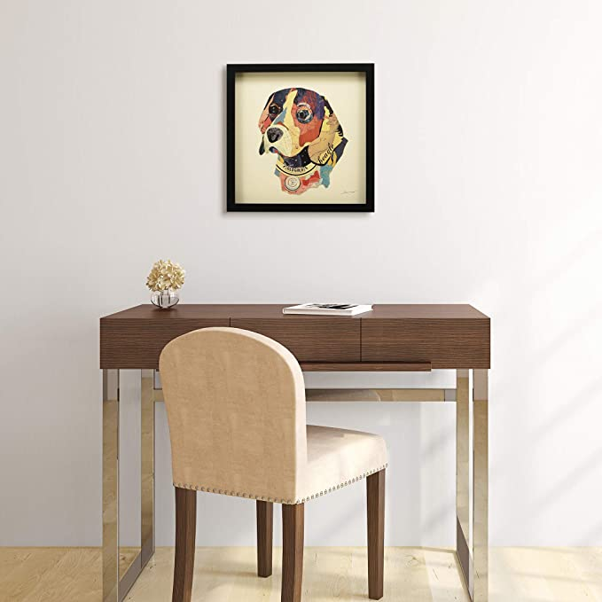 Empire Art Direct Beagle Dimensional Collage Handmade by Alex Zeng Framed Graphic Dog Wall Art, 17