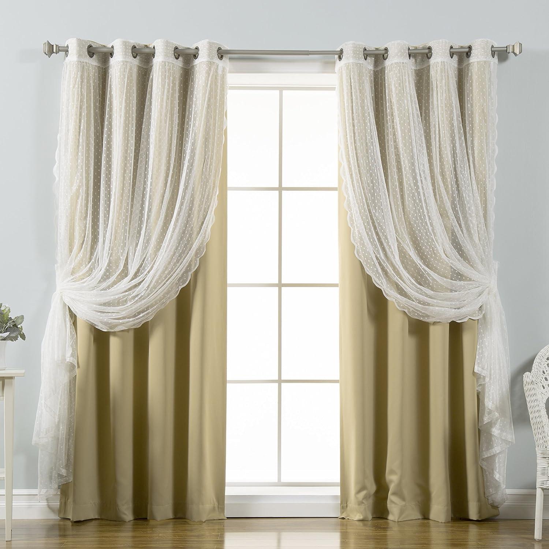 Best Home Fashion Mix & Match Dotted Tulle Lace & Solid Blackout 4 Piece Curtain Set – Antique Bronze Grommet Top – Wheat – 52