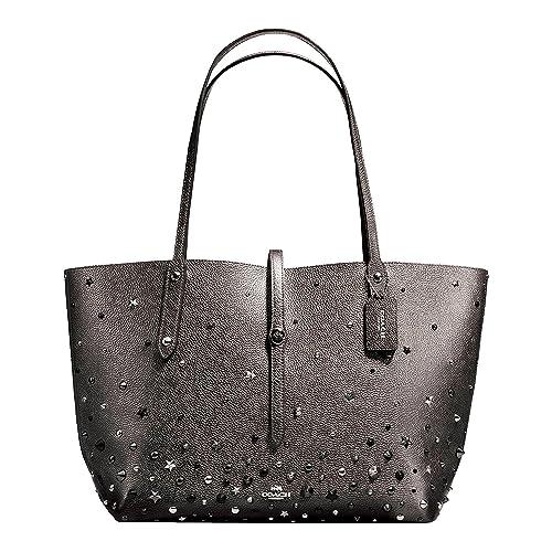 61a3e4dd7 Coach Market Ladies Large Metallic Leather Tote Handbag 59504 ...