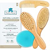 Natural Luxury Baby Hair Brush and Comb Set ~ Newborn Hair Brush Natural ~ Ideal Cradle Cap Brush for Babies ~ Newborn Cradle Cap Brush Set ~ Baby Hair Brush Natural Boy Girl ~ Toddler Hair Brush Set