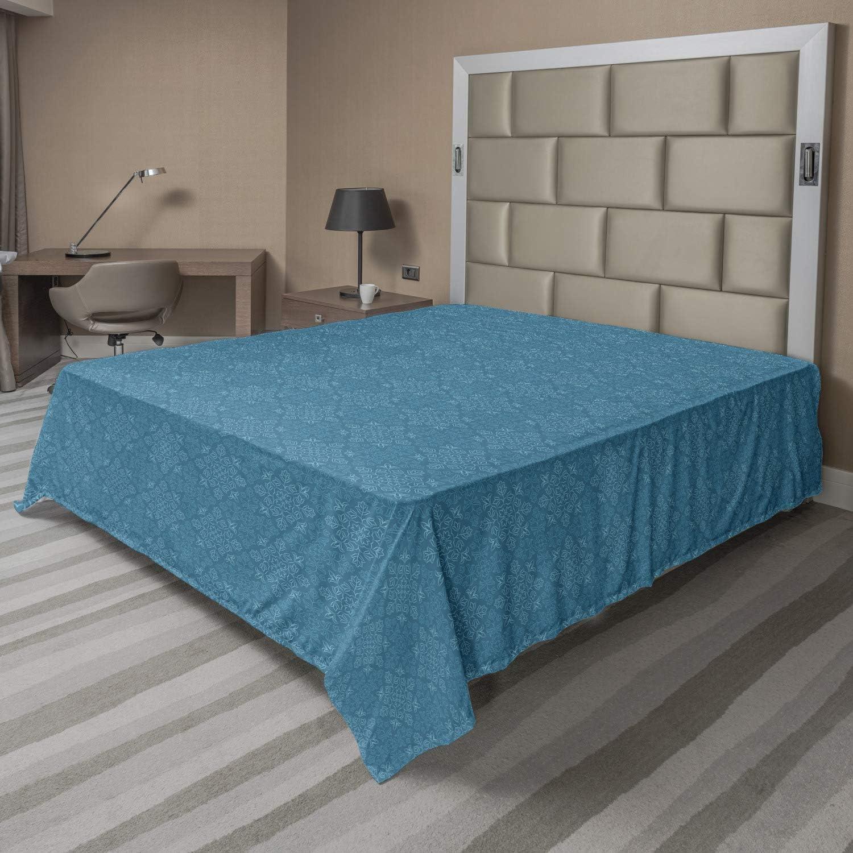 Soft Comfortable Top Sheet Decorative Bedding 1 Piece Ambesonne Blue Mandala Flat Sheet Sea Blue and Aqua Repetitive Oriental Flowers Leaves Rhombus Look Cold Tones Illustration Twin Size