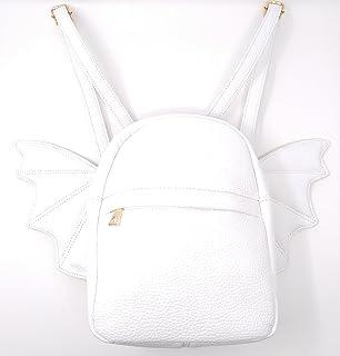 Women Fashion Mini Backpack   Detachable Bat Angel Wing Shoulder Bag (White) fd0a14f577