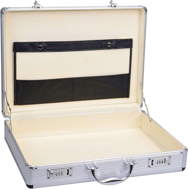 Gräwe - Maletín de aluminio con compartimento para documentos, color plateado