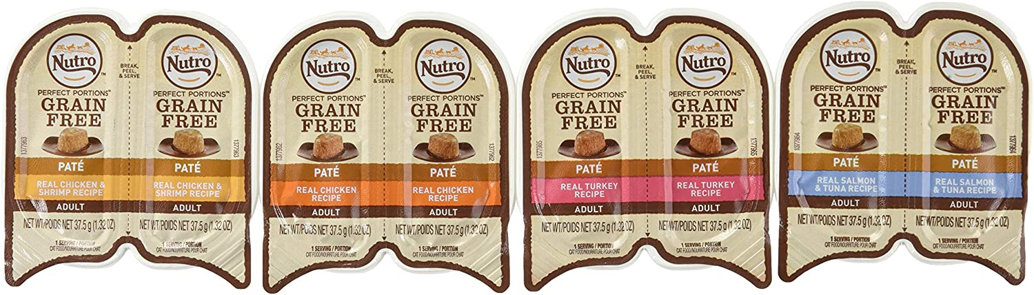 Nutro Perfect Portions Grain Free Soft Loaf Cat Food 4 Flavor 8 Can Variety Bundle: (2) Nutro Chicken & Shrimp Recipe Perfect Portions, (2) Nutro Salmon & Tuna Recipe Perfect Portions, (2) Nutro Chicken Recipe Perfect Portions, and (2) Nutro Turkey Recipe Perfect Portions, 2.6 Oz. Ea. (8 Cans Total)