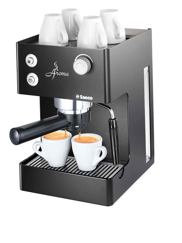 Saeco - Cafetera Espresso Aromanero Ri937311 Manual, 15 Bares,Deposito Agua 2,5L, Tubo Vapor Plastico, Calienta Tazas. Negro.