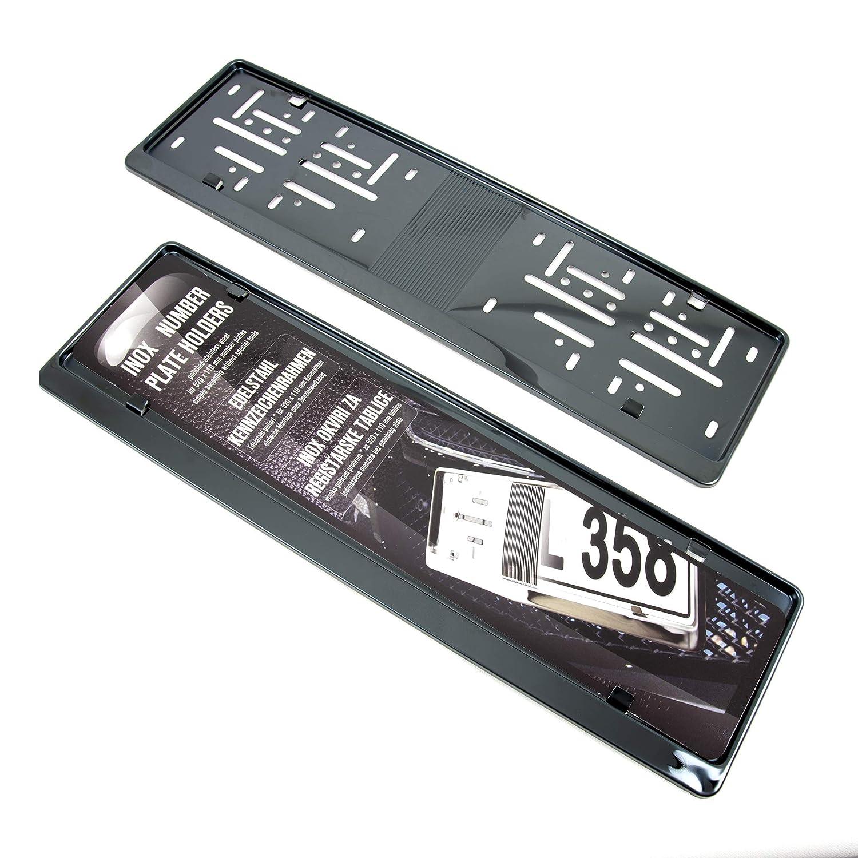 2x Premium Auto Kennzeichenhalter 100/% EDELSTAHL SCHWARZ poliert BLACK CHROME Nummernschildhalter Kennzeichenrahmen INOX V2A f/ür DEUTSCHLAND und EU Kennzeichen der Gr/ö/ße 520mm x 110mm