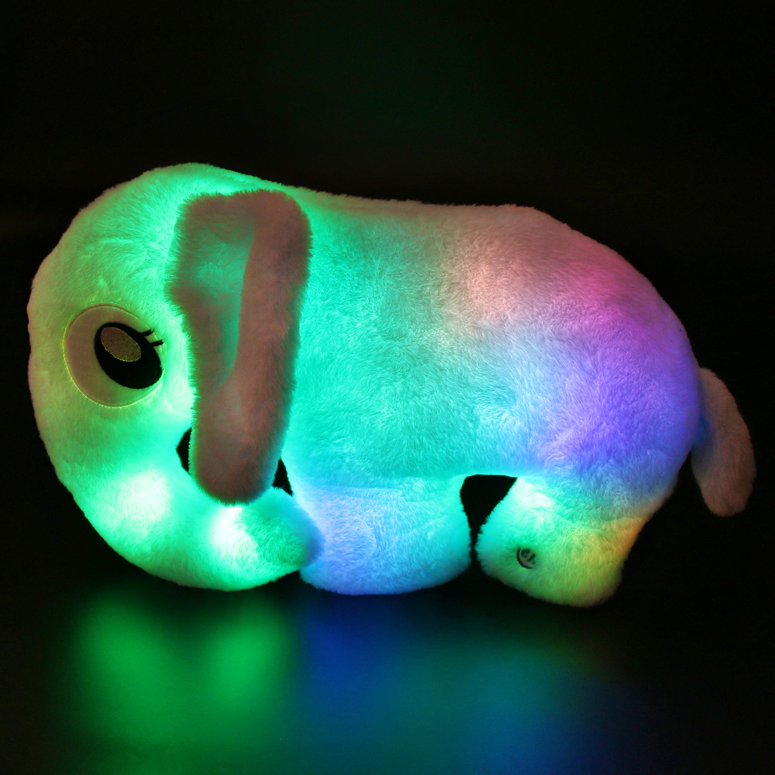 Houwsbaby Light UP Elephant Stuffed Animal Soft Plush Toy Glow in Dark LED Cushion Pillow Hugging Companion Pet Gift for Kids, Blue, 18 inches by Houwsbaby