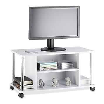 Relaxdays Mueble para TV con Ruedas, Madera y Acero Inoxidable, Blanco, 40x80x41.5 cm: Amazon.es: Hogar