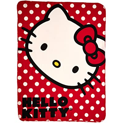 "SANRIO Hello Kitty, ""Polka Dot Kitty"" Fleece Throw Blanket, 45"" x 60"", Multi Color: Home & Kitchen"