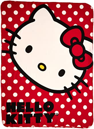 Amazon SANRIO Hello Kitty Polka Dot Kitty Fleece Throw Blanket Best Hello Kitty Fleece Throw Blanket