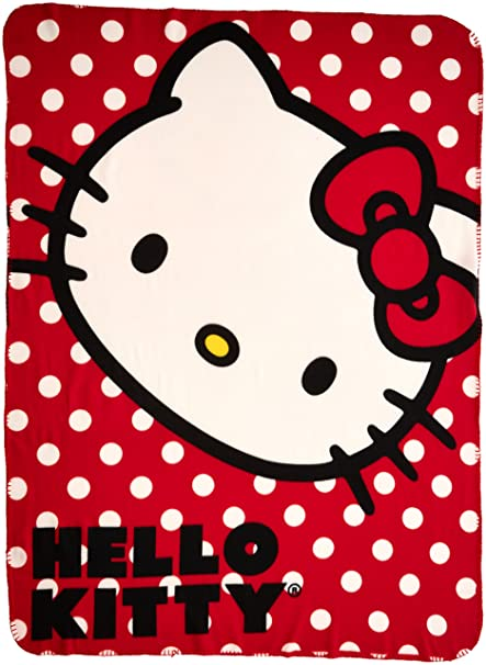 "d140cb623 SANRIO Hello Kitty, ""Polka Dot Kitty"" Fleece Throw Blanket,  45"""