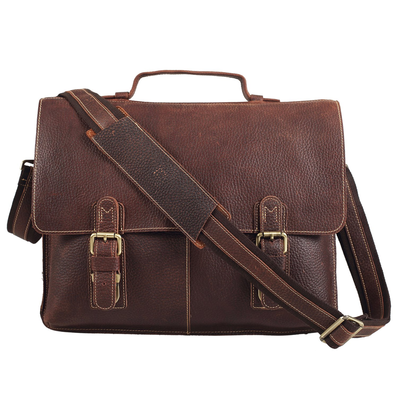 Polare Men's Real Leather Professional Messenger Bag Laptop Briefcase