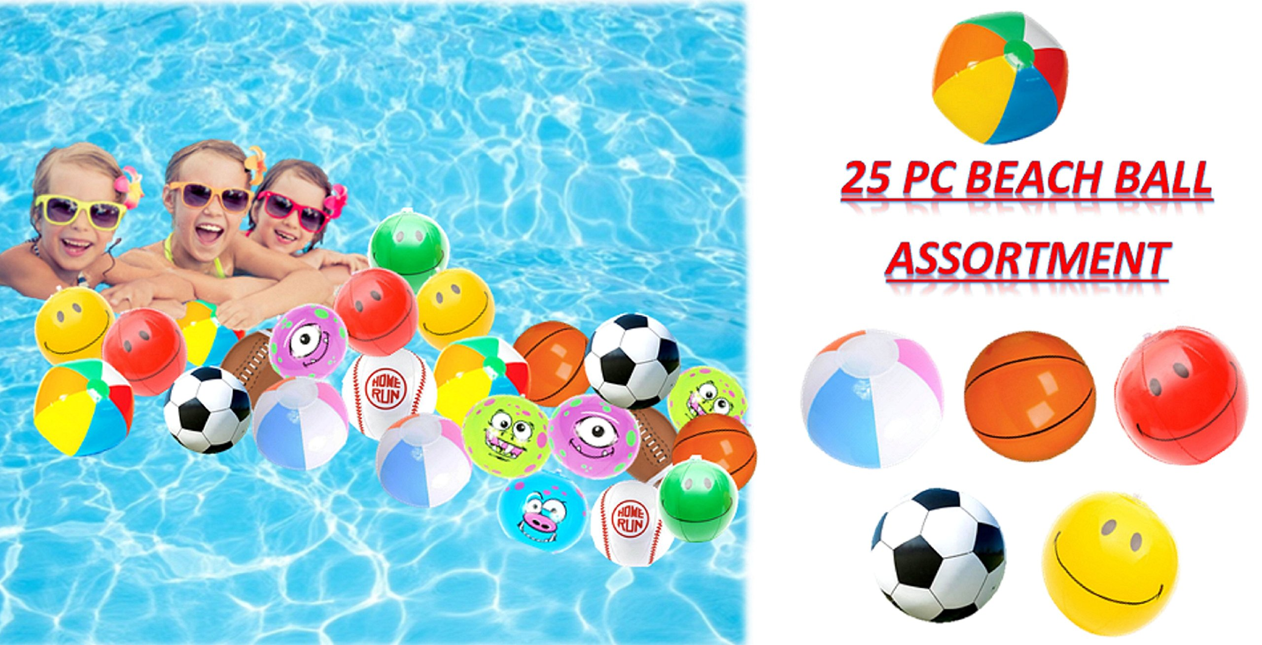 Play Kreative Assorted Mini Beach Balls - 25 Pack - 6'' Inflatable Pool Toys Beachballs Party Favor