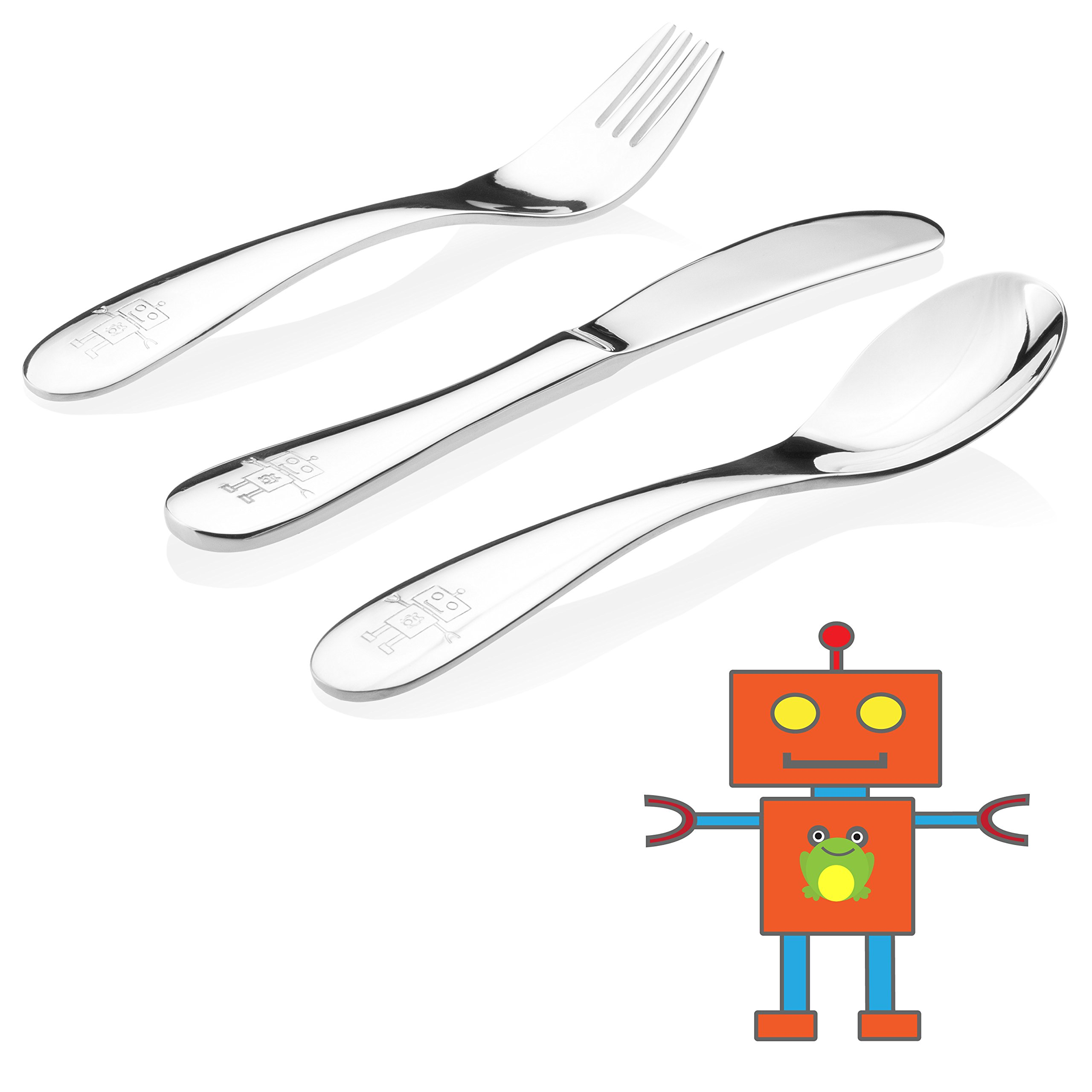 Kiddobloom Kids Stainless Steel Utensil Set, Robot Model, set of 3 (Spoon, Fork, and Butter Knife) Perfect for Preschoolers