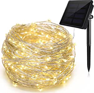 Ankway 200 LED Solar String Lights, LED Fairy Lights 8 Modes 3-Strands Copper Wire 72 ft Waterproof IP65 Solar String Lights Outdoor Indoor Patio Garden Christmas Decorative (Warm White)