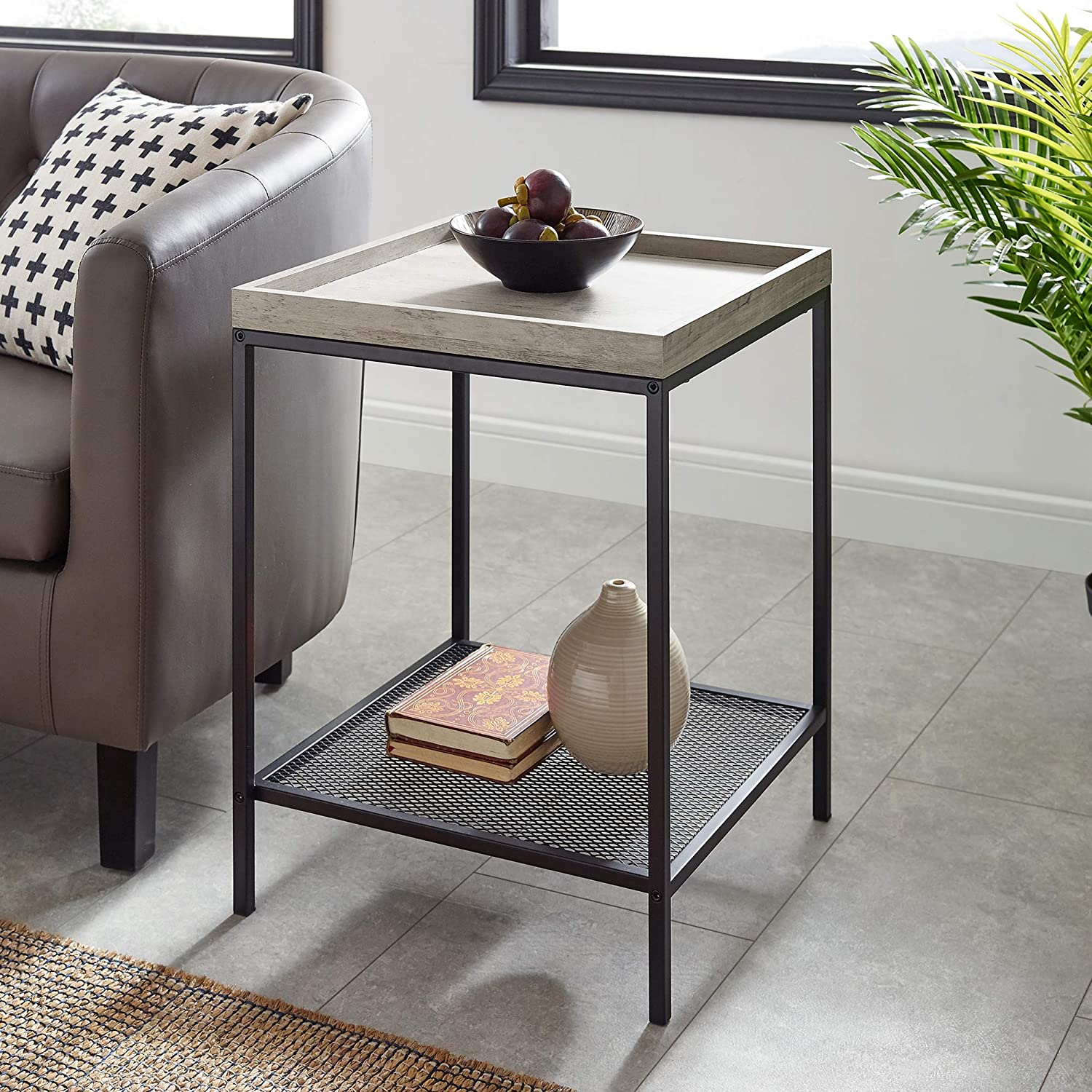 WE Furniture AZF18EMISTGW Industrial Farmhouse Square Side End Accent Table Living Room, 18 Inch, Grey