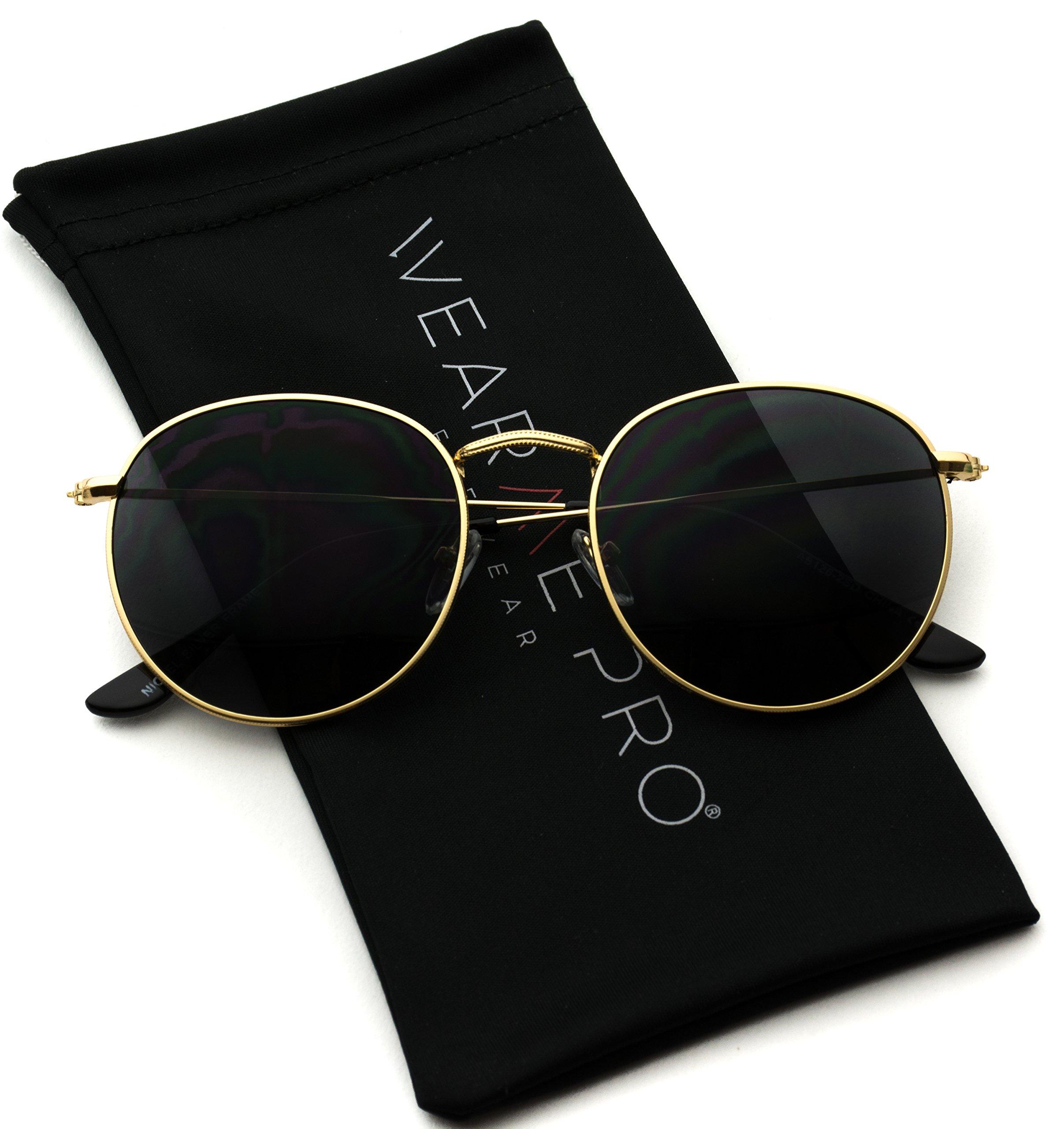 WearMe Pro - Reflective Lens Round Trendy Sunglasses (Gold Frame/Black Lens, 51) by WearMe Pro