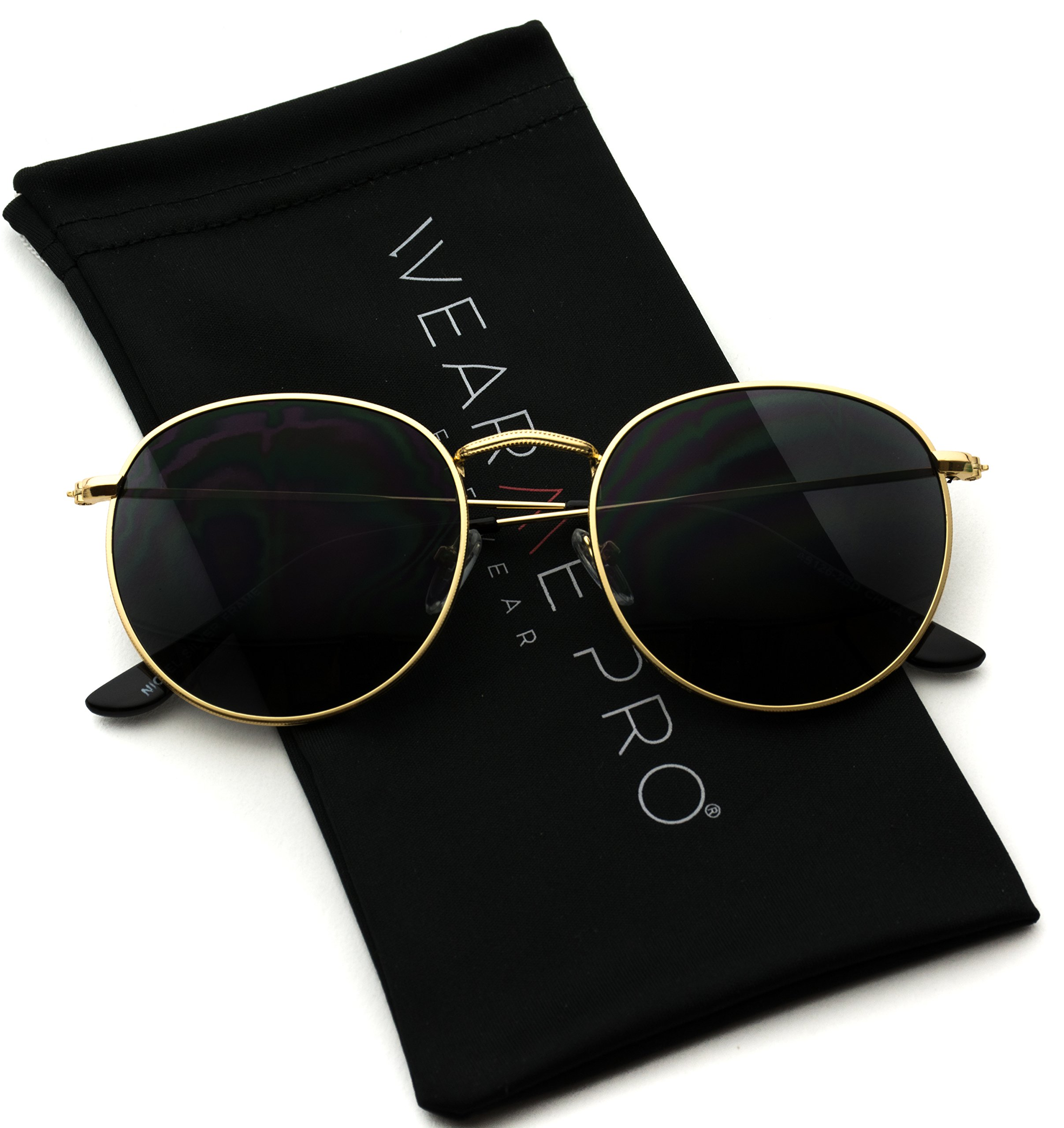WearMe Pro - Reflective Lens Round Trendy Sunglasses (Gold Frame/Black Lens, 51)