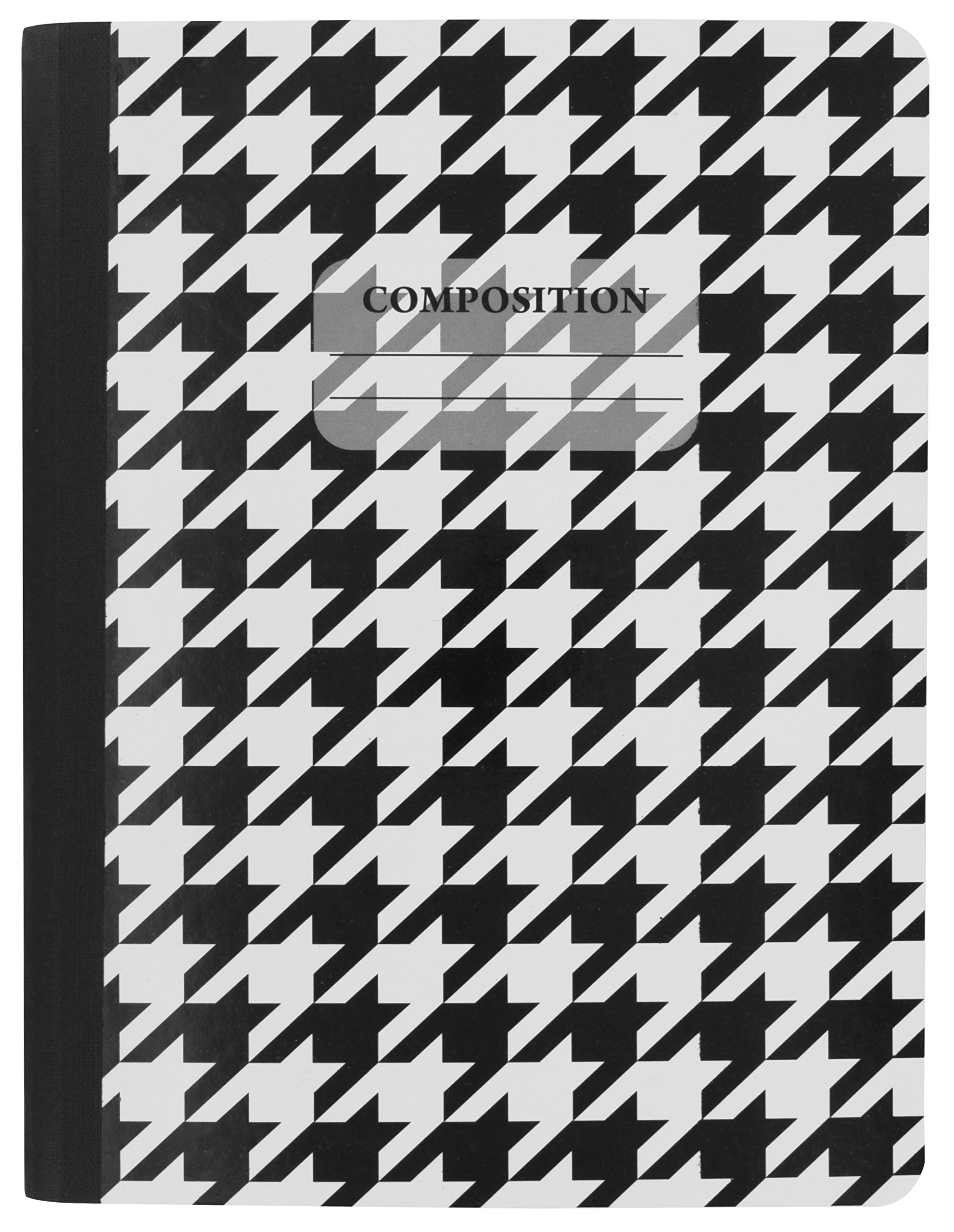 Emraw Black & White 4 Fashion Styles Cover Composition Book with 100 Sheets of Wide Ruled White Paper - Set Includes All Style Covers (4 Pack) by Emraw (Image #2)