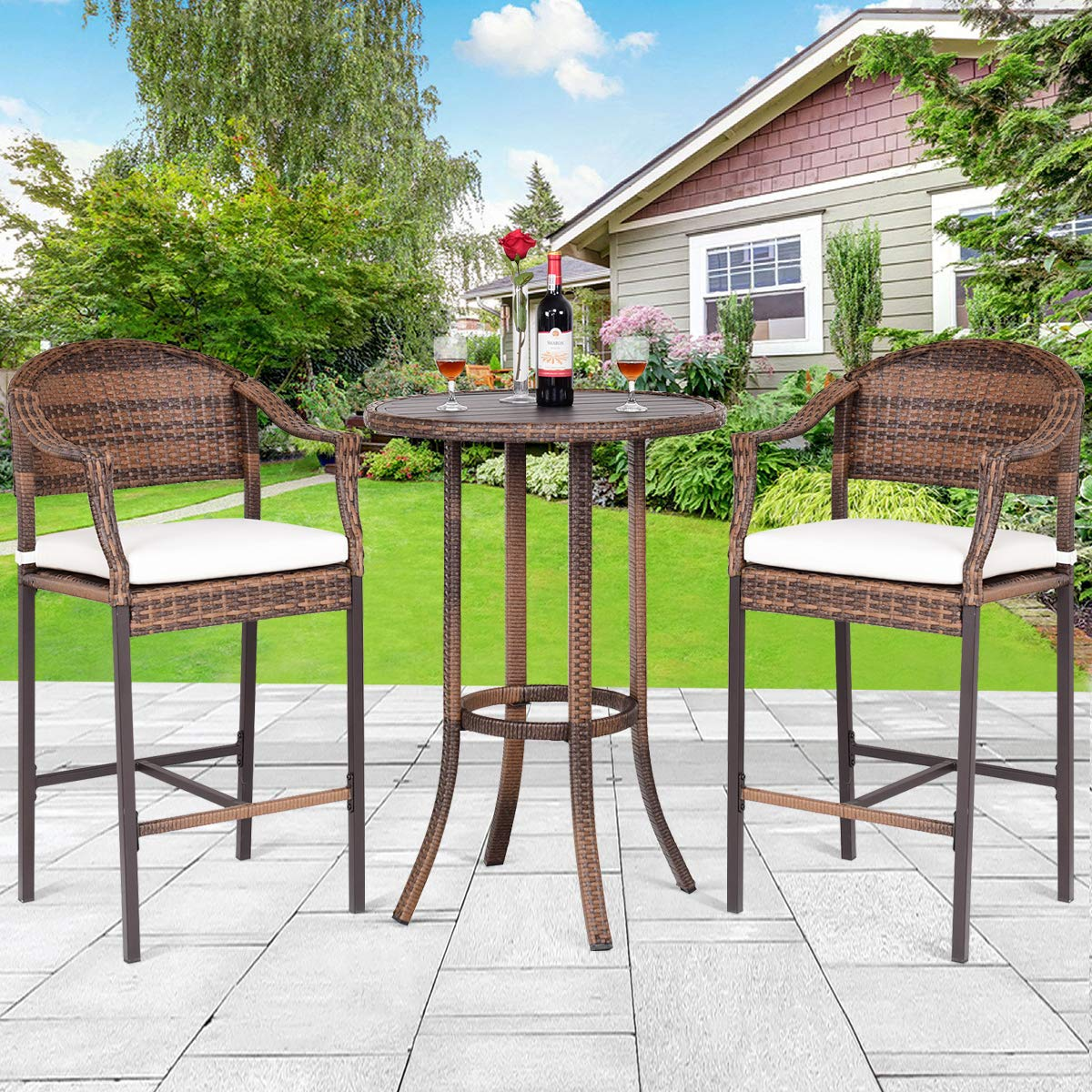 TANGKULA Patio Bar Set 3-Piece Wicker Rattan All Weahter Durable Poolside Balcony Garden Furniture Bar Height Outdoor Table and Chairs Set