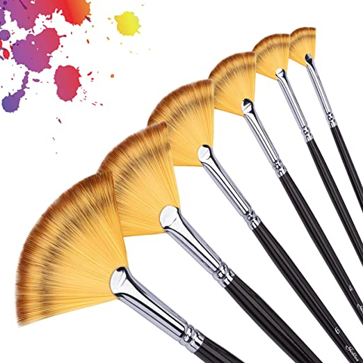 Fuumuui Paint Brushes Set Natural Hog Bristle Round Pointed Tip Brushes Pack of 6 Professional Artist Paint Brushes for Oil Acrylic Gouache Painting
