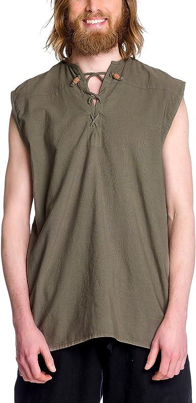 Camisa con cordones medieval de hombre sin mangas verde oliva algodón - XL: Amazon.es: Ropa y accesorios