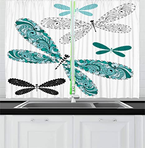 Amazon Com Ambesonne Dragonfly Kitchen Curtains Ornamental Dragonfly With Lace And Damask Effects Image Window Drapes 2 Panel Set For Kitchen Cafe Decor 55 X 39 Black Turquoise Home Kitchen