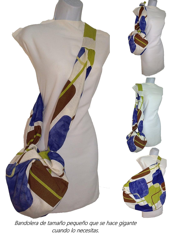 Bolso para mujer AZUL MARRON, MULTIUSOS para vestir, para la playa, para la compra o el gimnasio, pequeño que se hace GIGANTE. Ideal regalo exclusivo y patentado