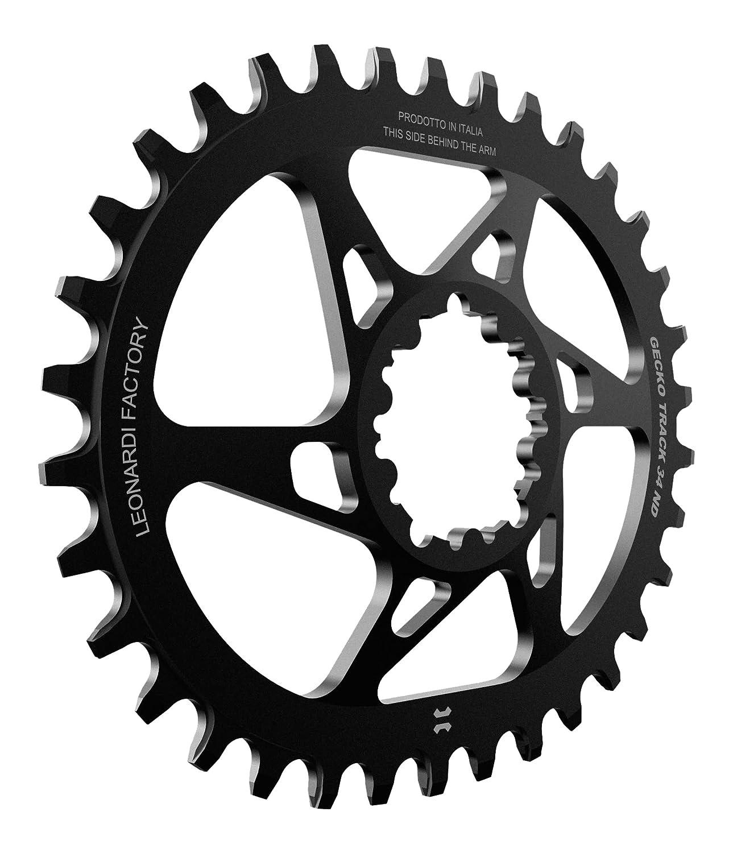 Leonardi Factory Gecko Track Oval SRAM Offset 6 - Plato de Bicicleta, Color Negro