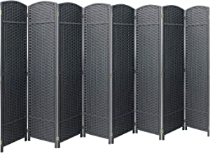 Sorbus Room Divider Folding Privacy Screen, 8 Panel 6ft. Tall Extra Wide Partition Foldable Panel Wall Divider, Double Hinged Room Dividers and Folding Privacy Screens (Gray)