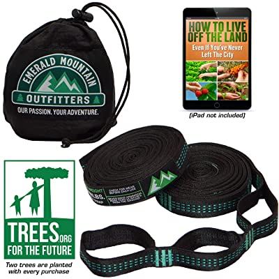 Emerald Mountain Hammock Straps - XL Hammock Tree Straps - No Stretch Polyester, 42 Loops, Triple Stitched, 10 Foot Length – Suspension Straps for All Hammock Brands: Garden & Outdoor