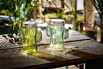 Tfh Led Windlicht Glas Kaktus 2er Set Tischbeleuchtung