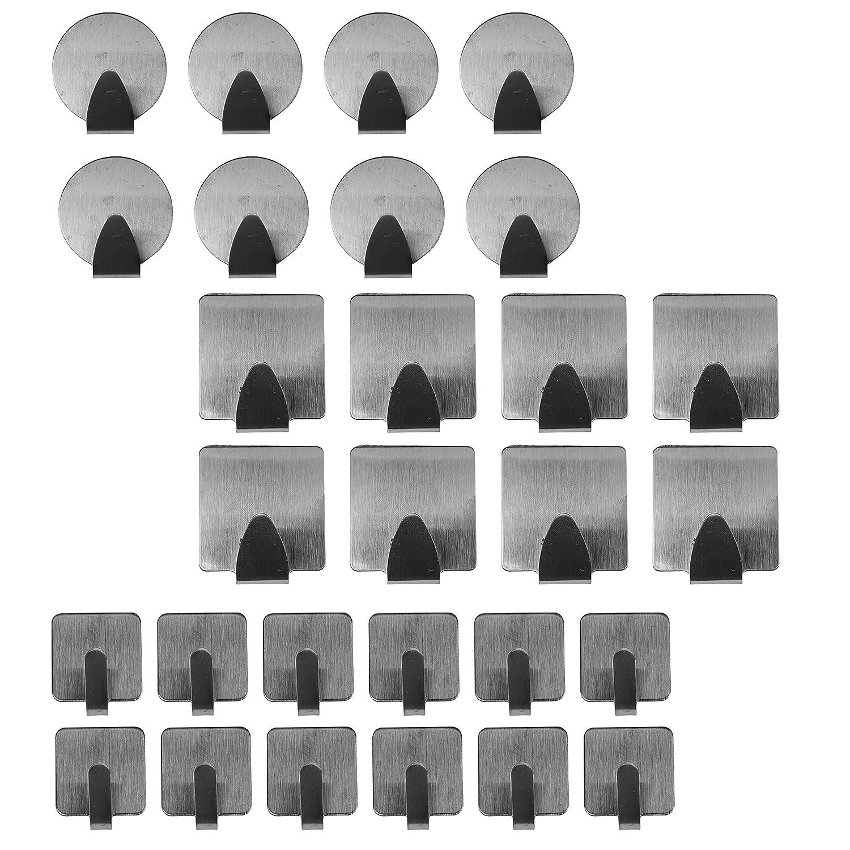 Wandhaken selbstklebend (28 tlg) - edelstahl Wandhaken fü r Schmuck,Kü che,Bad, - Nr Nagel Installation Halten 3,6 Kg - Hooks Grö ß e runde 3,5 cm, quadratische 4,7 cm, kleine quadratische 2,5 cm Kurtzy COMP-MA-6084-JH-1144